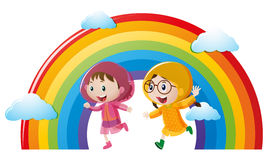 Two girls in raincoat running with rainbow in background. Illustration Stock Image