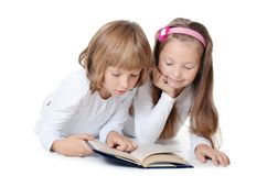 Two Girls Read The Book Stock Image