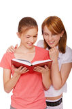 Two girls reading book Royalty Free Stock Photo