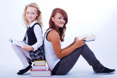 Two girls reading book 2 Royalty Free Stock Photo