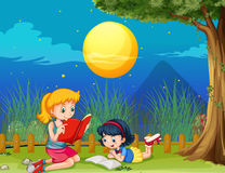 Two girls reading book on fullmoon night. Illustration Royalty Free Stock Image
