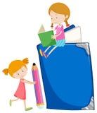 Two girls reading books. Illustration Royalty Free Stock Image