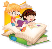 Two girls reading books. Illustration Royalty Free Stock Images