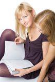 Two girls reading magazine Royalty Free Stock Image