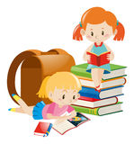 Two girls reading text books. Illustration Stock Photos