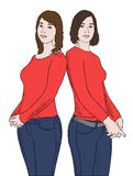 Two girls in red shirts stock illustration