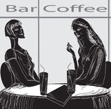Two girls in restaurant. Having drinks, hand drawn illustration in  black and white Stock Image