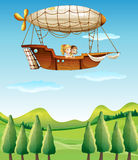 Two girls riding in an airship Royalty Free Stock Photo