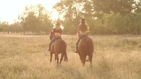 Two girls riding a horse in a field at sunset. stock footage
