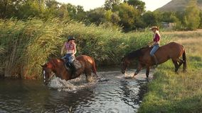 Two girls riding on horses bathe horses in lake. Two girls riding on horses bathe the horses in the lake on a background of reeds. Slow motion stock video