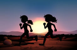 Two girls running in the field at sunset. Illustration Stock Photography