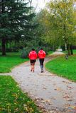 Two girls running in the park in the autumn stock images