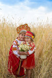 Two girls in the Russian national sundresses Royalty Free Stock Photography