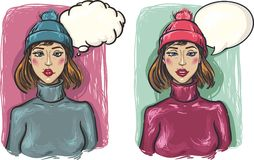 Two girls. Sad and pensive girl in a hat and sweat vector illustration