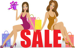 Two girls on sale Royalty Free Stock Photo
