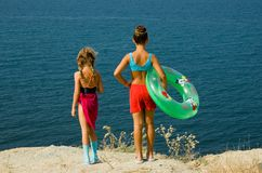 Two girls at the seaside Royalty Free Stock Image