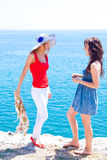 Two girls at the seaside Royalty Free Stock Photo