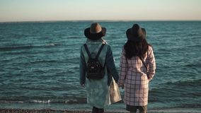 Two girls on the seaside admire the beautiful view. girlfriends spend time together outdoors. stock video