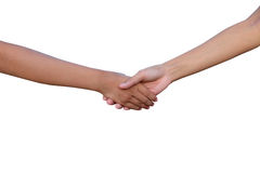 Two girls shaking hands, isolated on white background royalty free stock image