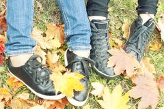 Two girls shoes on autumn leaves, top view, toned photo. Two girls shoes on autumn leaves, top view, sneakers, toned photo Royalty Free Stock Photos