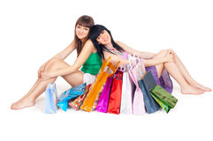 Two girls with shopping Royalty Free Stock Photo
