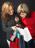 Two Girls with Shopping Bags Royalty Free Stock Image