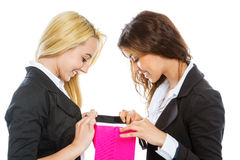 Two girls with shopping bags Royalty Free Stock Photos