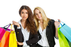 Two girls with shopping bags Stock Photos