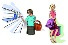 Two girls shopping Stock Photography
