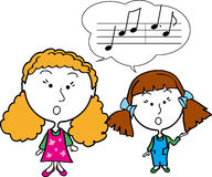 Two girls singing. Lesson girls singing notes clever music study two art learning school children Vector Illustration