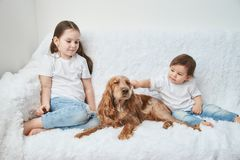 Two baby girls, sisters play on white sofa with red dog royalty free stock photo