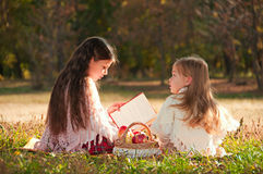 Two Girls Sisters Read The Book On The Grass Royalty Free Stock Photo