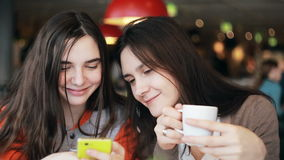 Two girls sisters using smartphone talking in cafe. Two girls sisters using smartphone touchscreen,  talking, laughing in cafe stock video