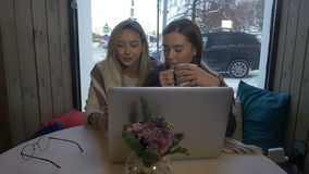 Two girls are sitting in a cafe and talk.  stock video footage