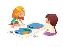 Two girls sitting on floor and trying to assemble world map puzzle. Educational activities for children. Learning through play concept. Vector illustration for Stock Image