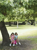 Two girls (7-9) sitting on pink space hopper beneath tree in park, smiling, portrait Stock Photo