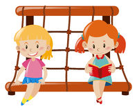 Two girls sitting on rope climbing station. Illustration Royalty Free Stock Photo