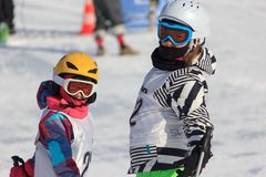 Two girls on the ski race Royalty Free Stock Image