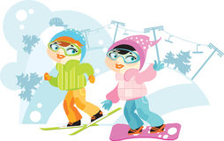 Two Girls on skis and snowboard. Two Girls in a color jacket runs on skis and snowboard in Mounting skiing resort Royalty Free Stock Photo