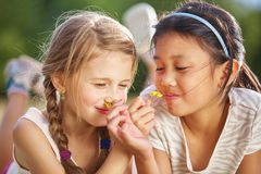 Two girls smell a flower stock images