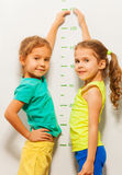 Two girls smile show height on wall scale at home Stock Image
