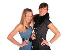 Two girls smiling stock image