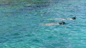 Two girls snorkeling. Two girl snorkeling near Similan Islands stock footage