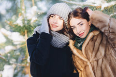 Two girls in a snowy forest stock photography