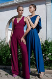 Two girls stand and pose. Hot summer in overalls Royalty Free Stock Photo