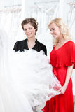 Two girls stare at the dress. Two girls stare at the wedding dress hesitating about fitting. White background stock photo