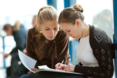 Two girls students Royalty Free Stock Photo