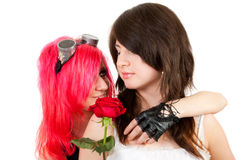Two girls in studio. One girl hugs another, and gives her a red rose. Isolated over white background Stock Photos