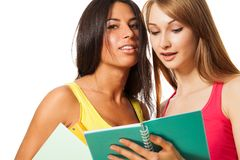 Two girls studying Royalty Free Stock Photography