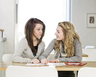 Two girls studying Stock Image